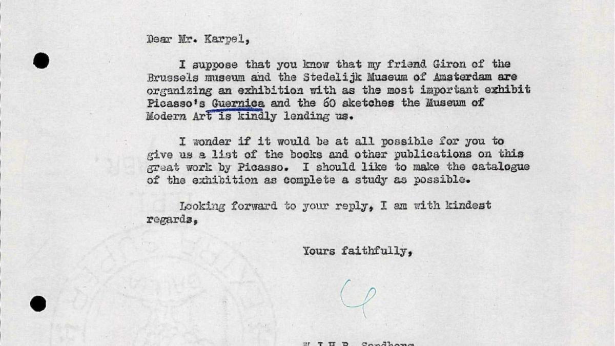 Willem Sandberg's letter to Bernard Karpel, dated 24 February 1956