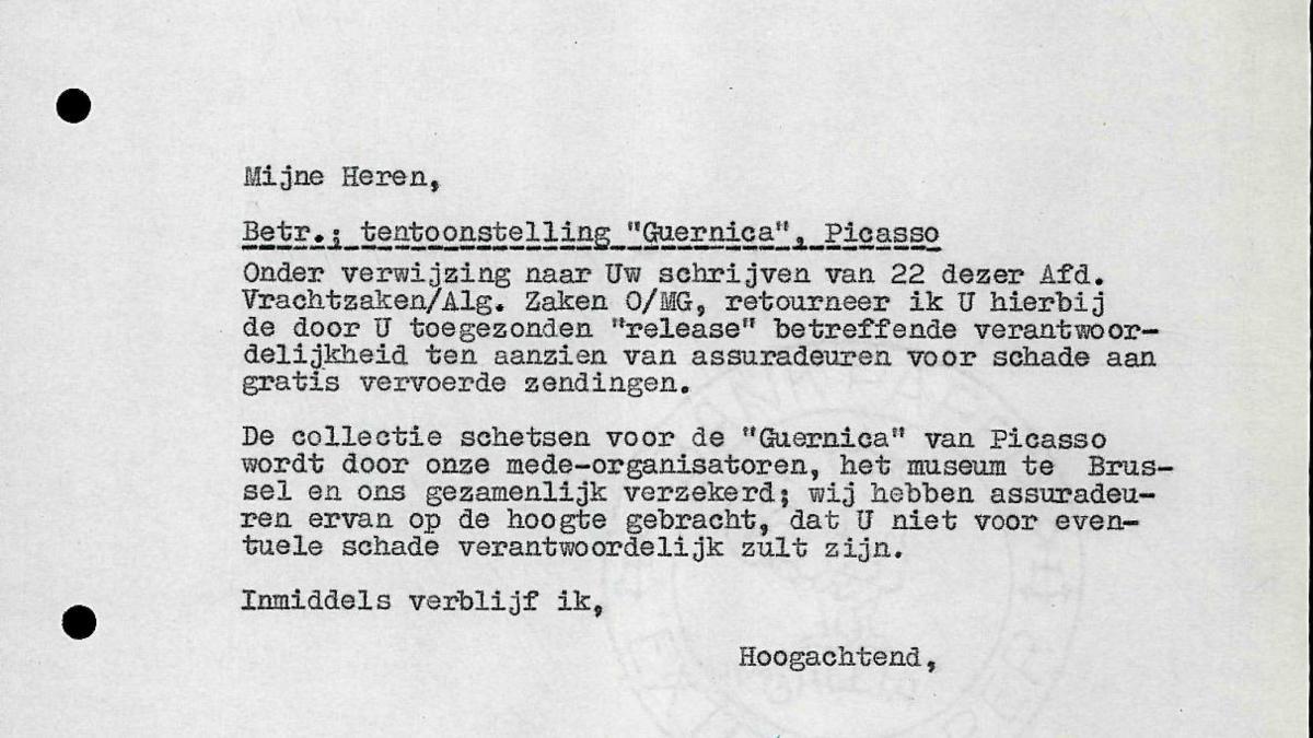 Carta de Willem Sandberg a Holland-Amerika Lijn del 25 de febrero de 1956