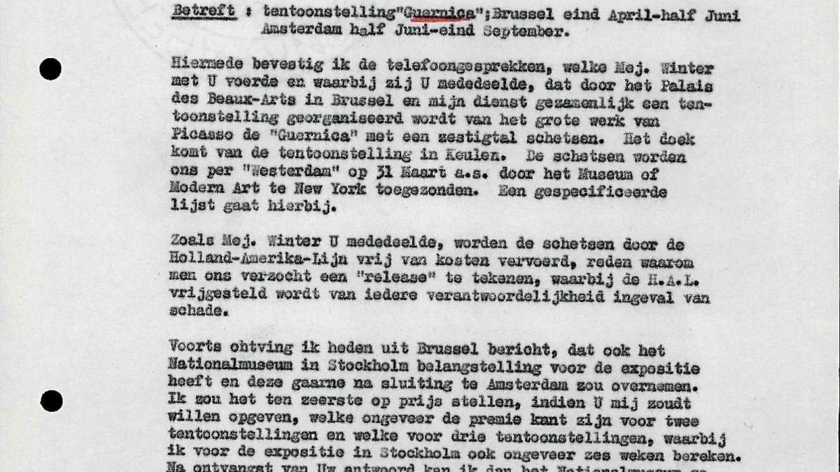 Carta de Willem Sandberg al Ayuntamiento de Ámsterdam del 27 de febrero de 1956