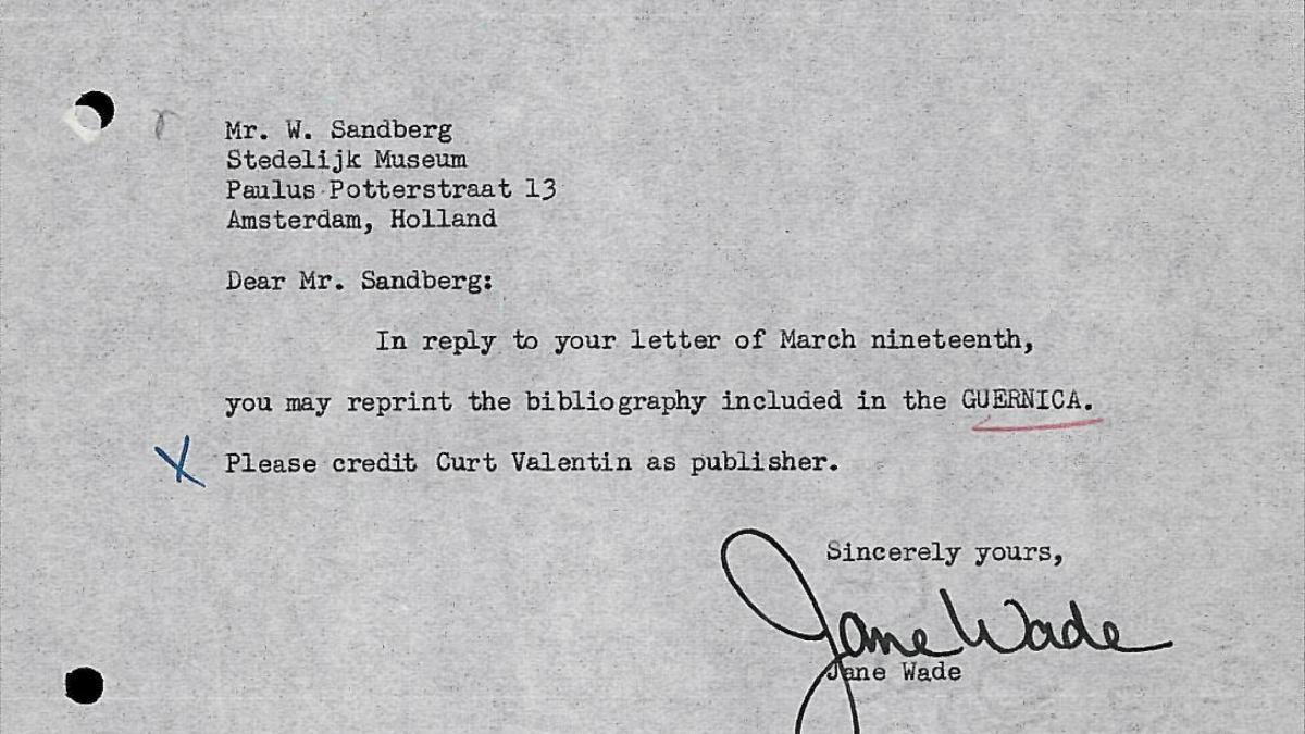 Carta de Jane Wade a Willem Sandberg