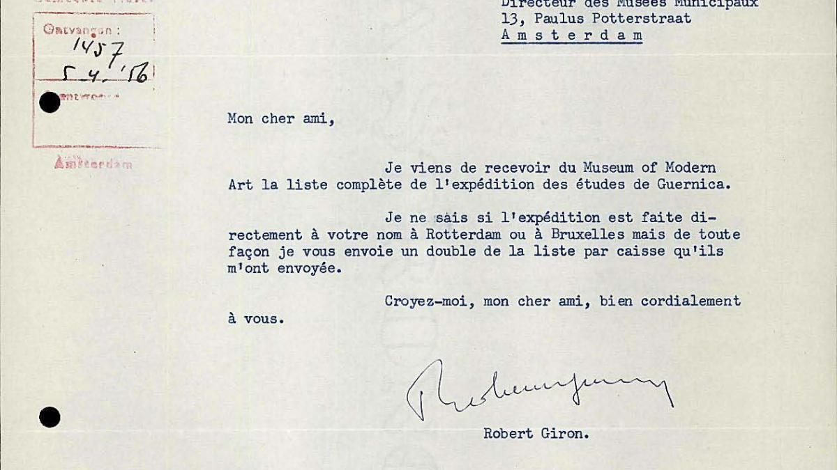 Carta de Robert Giron a Willem Sandberg del 4 de abril de 1956