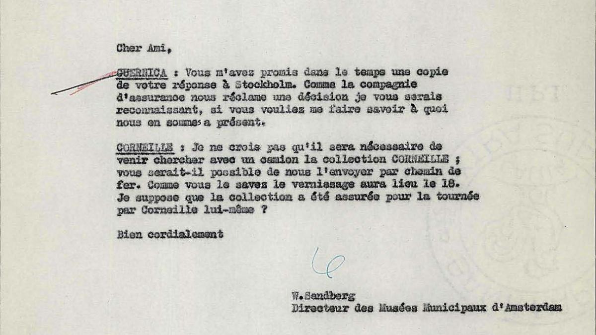 Carta de Willem Sandberg a Robert Giron del 4 de mayo de 1956