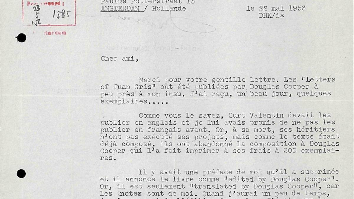 Daniel-Henry Kahnweiler's letter to Willem Sandberg, dated 22 May 1956