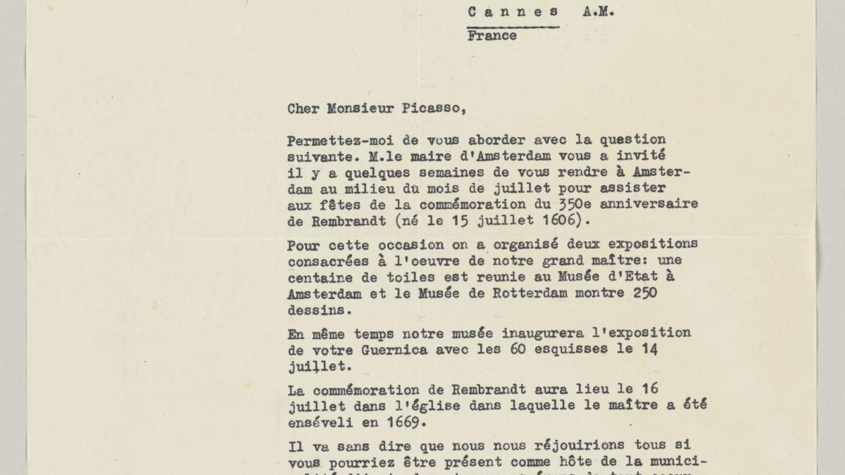 Carta de Willem Sandberg a Pablo Picasso del 22 de mayo de 1956