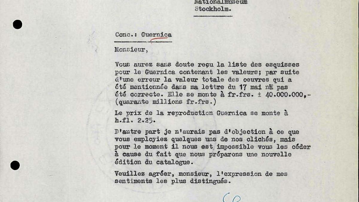 Carta de Willem Sandberg a Bo Wennberg del 23 de mayo de 1956