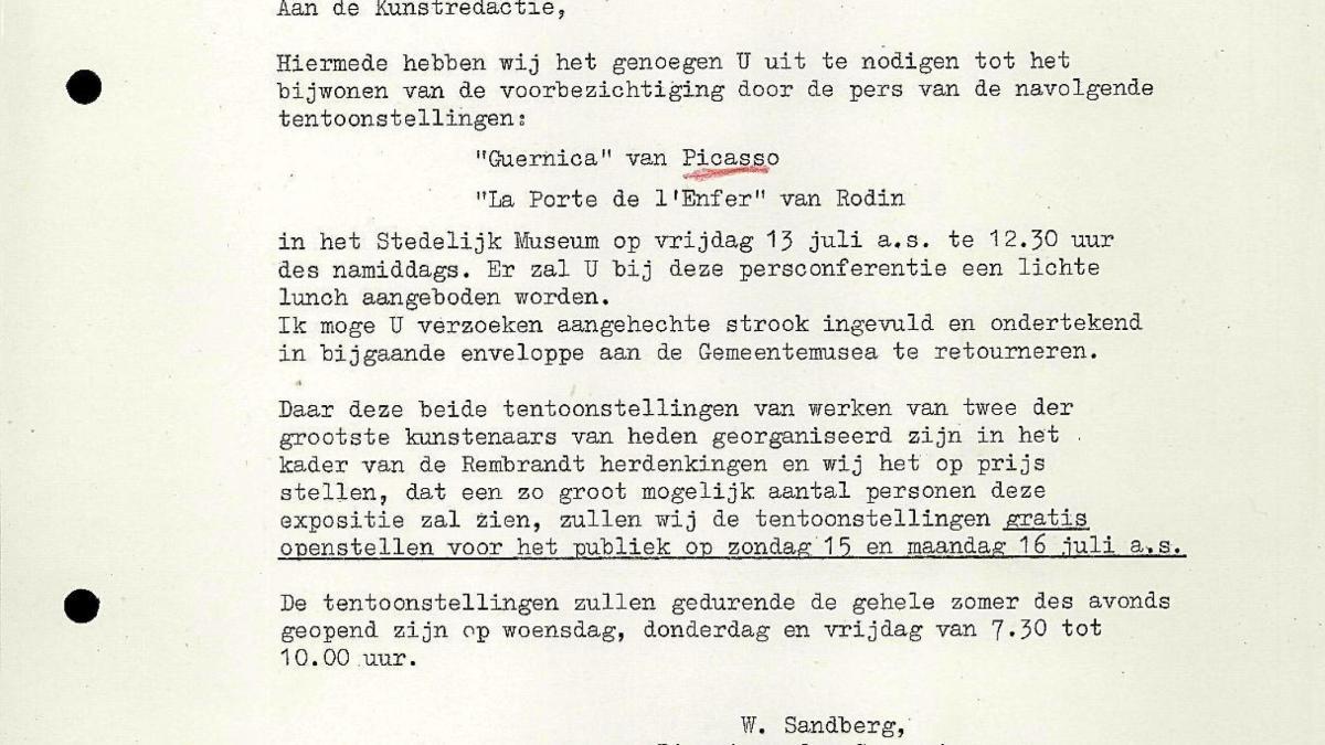 Carta de Willem Sandberg