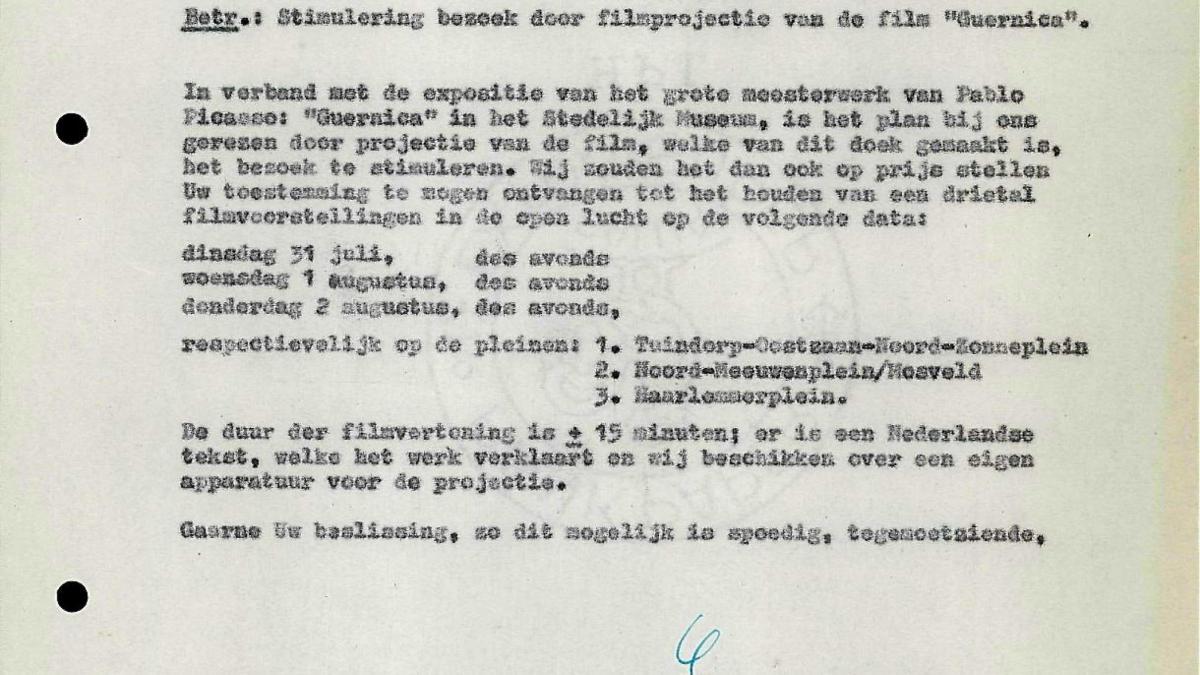 Carta de Willem Sandberg al Ayuntamiento de Ámsterdam del 19 de julio de 1956