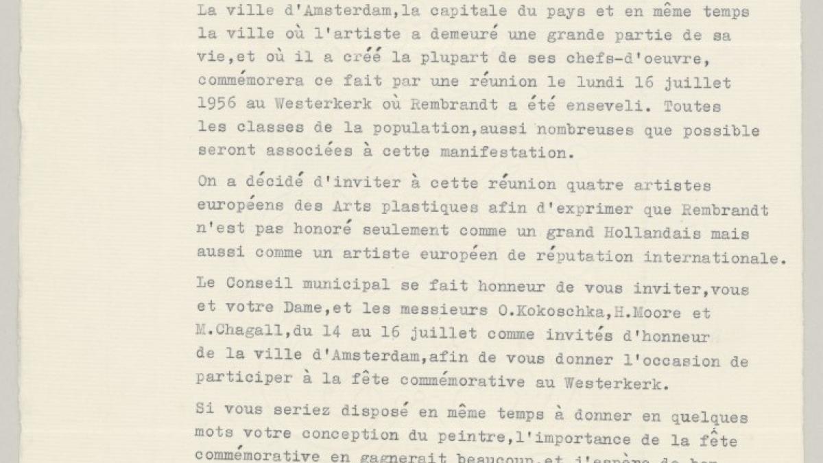 Carta de Arn.J. D'Ailly a Pablo Picasso