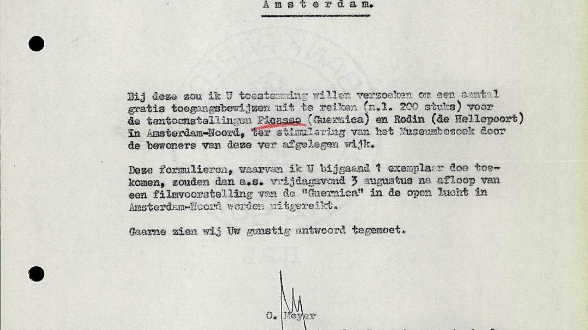 Carta de Otto Meyer al Ayuntamiento de Ámsterdam