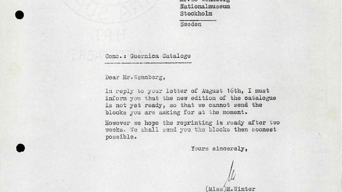 Carta de Bo Wennberg a M. Winter