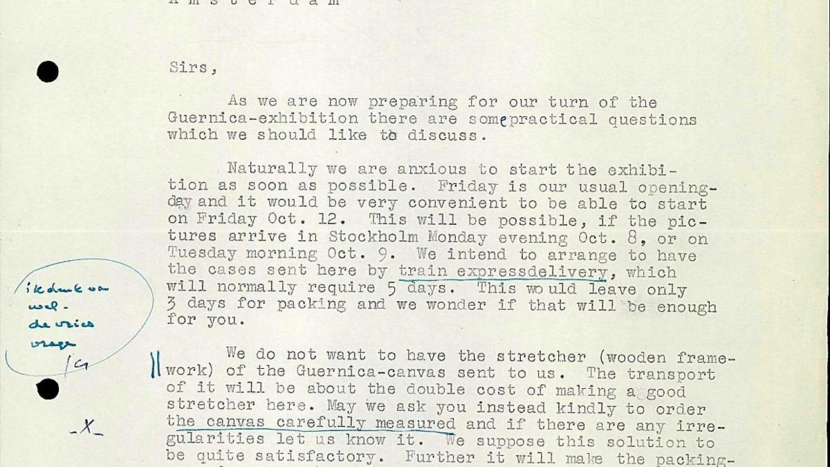 Carta de Bo Wennberg al Stedelijk Museum