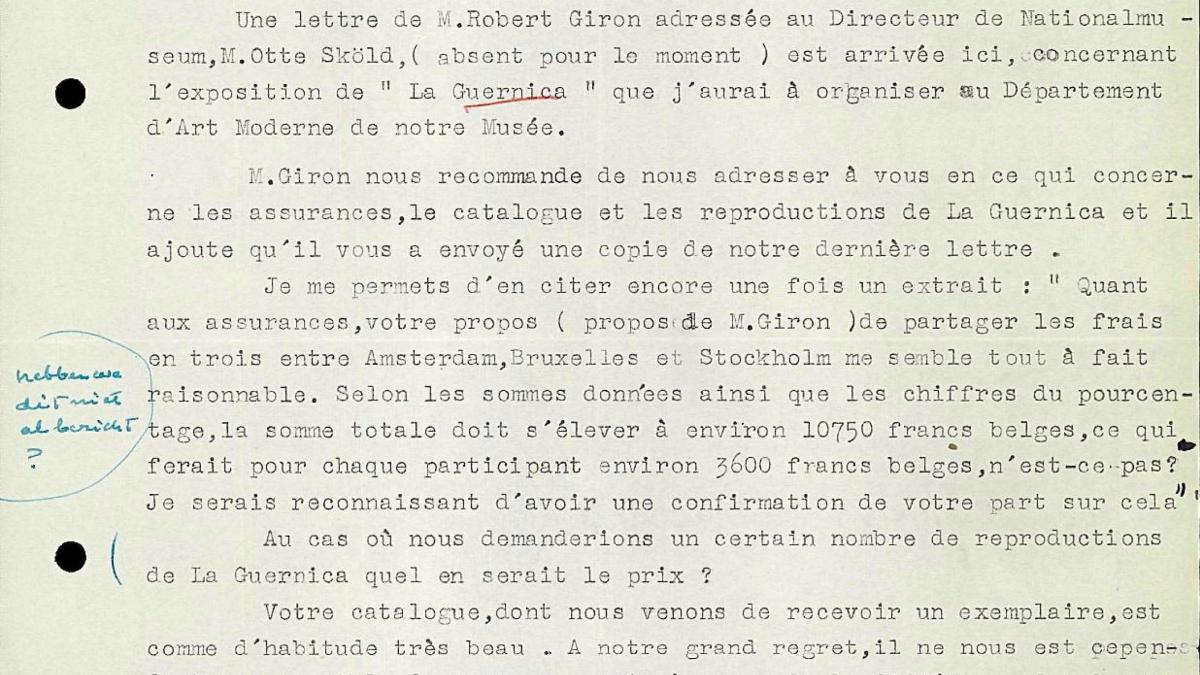 Bo Wennberg's letter to Willem Sandberg, dated 6 May 1956