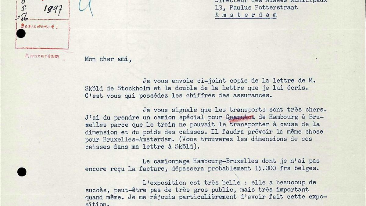 Carta de Robert Giron a Willem Sandberg del 7 de mayo de 1956