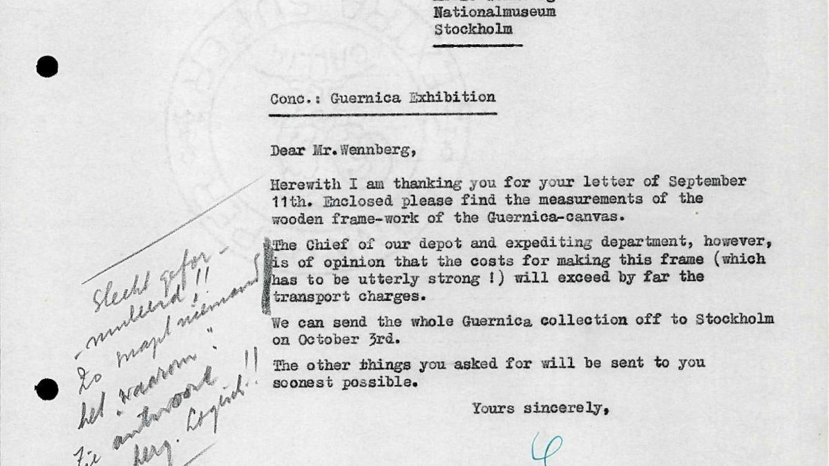 Carta de Willem Sandberg a Bo Wennberg del 15 de septiembre de 1956