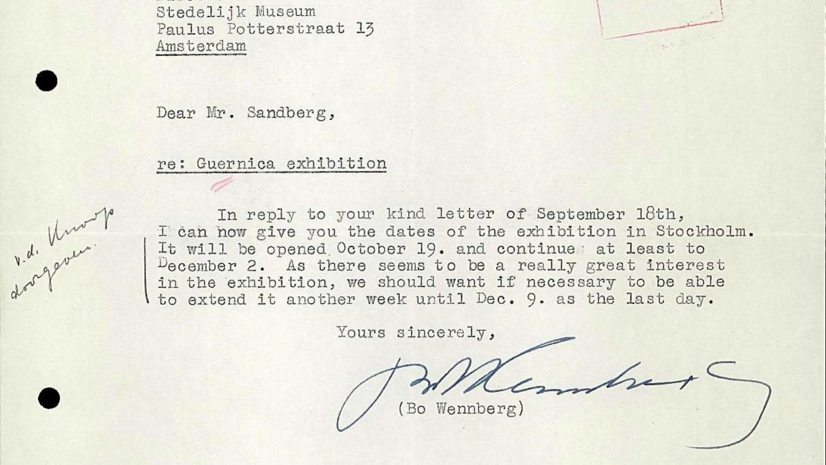 Carta de Willem Sandberg a Bo Wennberg del 24 de septiembre de 1956
