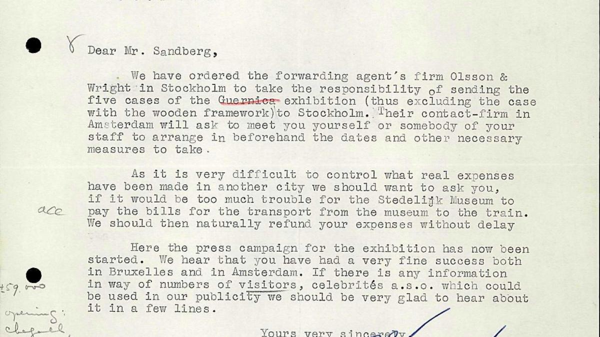 Bo Wennberg's letter to Willem Sandberg, dated 1 October 1956
