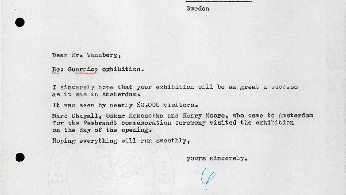Willem Sandberg's letter to Bo Wennberg, dated 9 October 1956