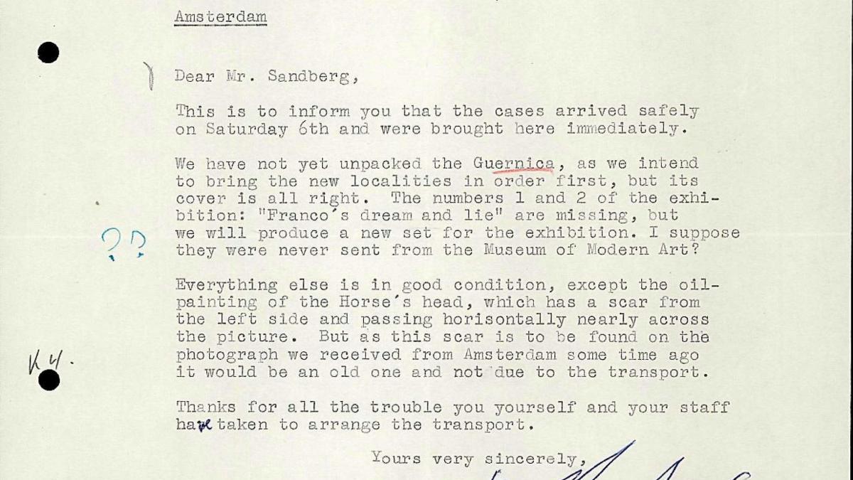 Carta de Bo Wennberg a Willem Sandberg del 10 de octubre de 1956