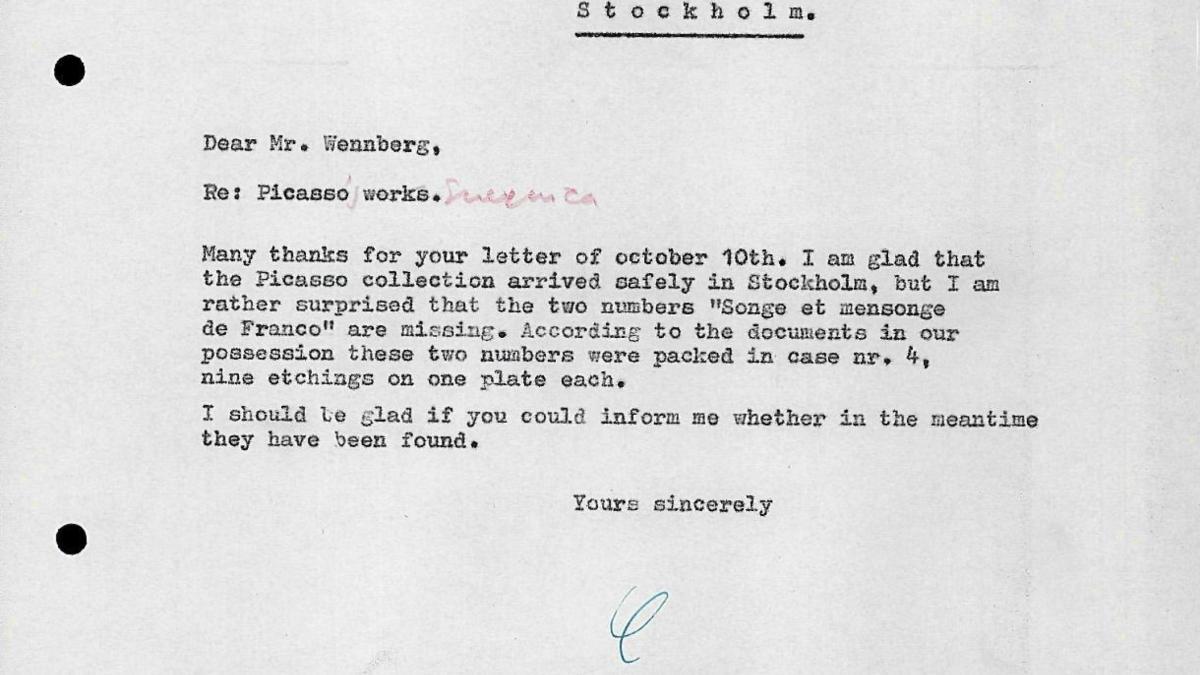 Carta de Willem Sandberg a Bo Wennberg del 15 de octubre de 1956