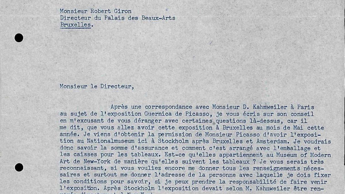 Carta de Otte Sköld a Willem Sandberg