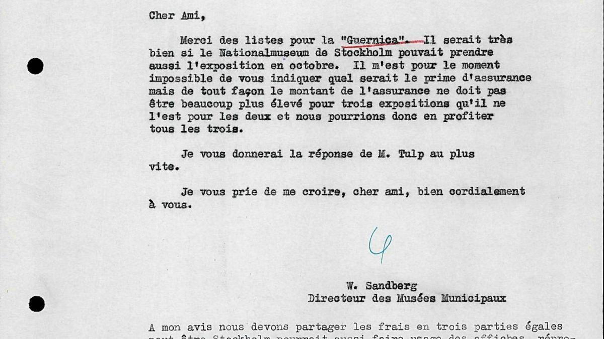 Carta de Willem Sandberg a Robert Giron del 27 de febrero de 1956