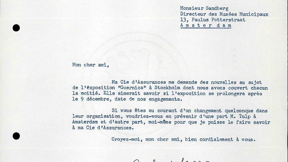 Carta de Robert Giron a Willem Sandberg del 6 de diciembre