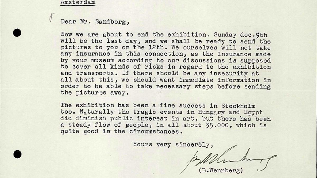 Carta de Bo Wennberg a Willem Sandberg del 7 de diciembre de 1956