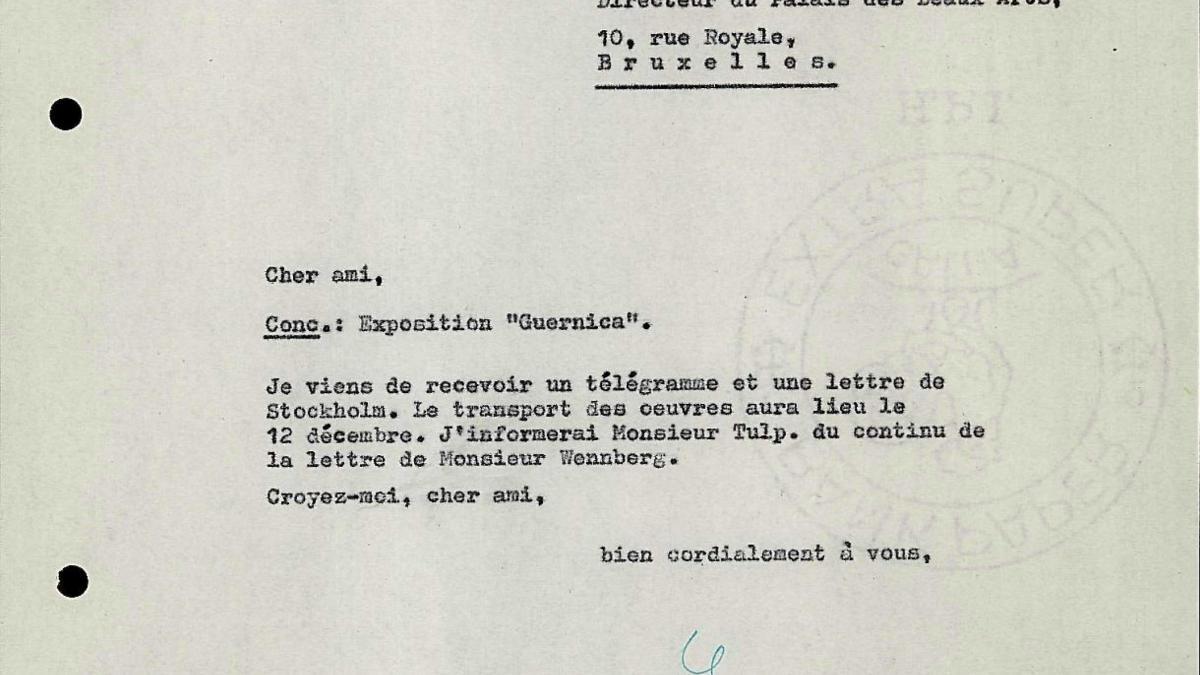 Carta de Willem Sandberg a Robert Giron del 10 de diciembre de 1956