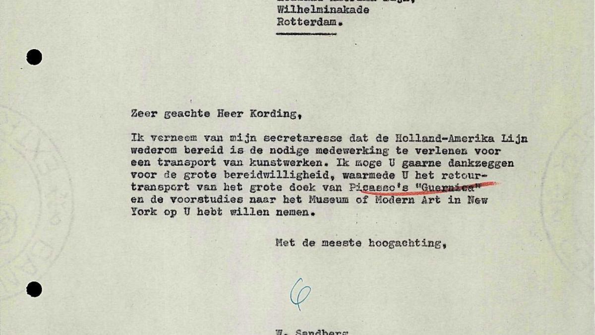 Carta de Willem Sandberg a Holland-Amerika Lijn del 20 de diciembre de 1956