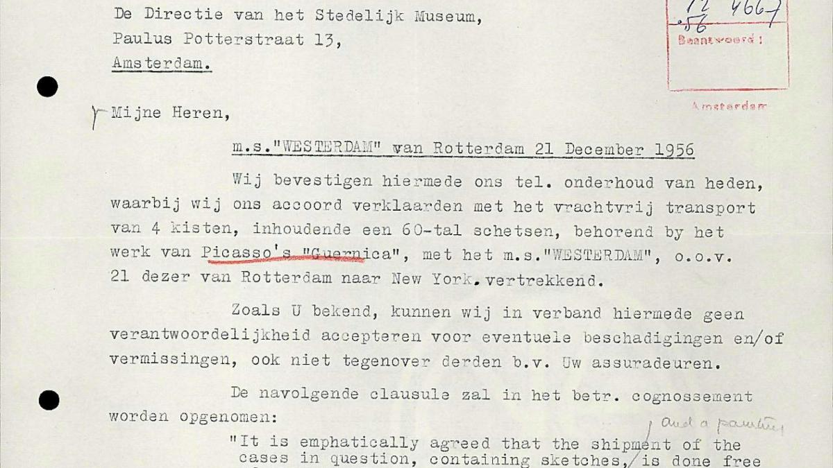 A letter from Holland-Amerika Lijn to Willem Sandberg, dated 20 December 1956