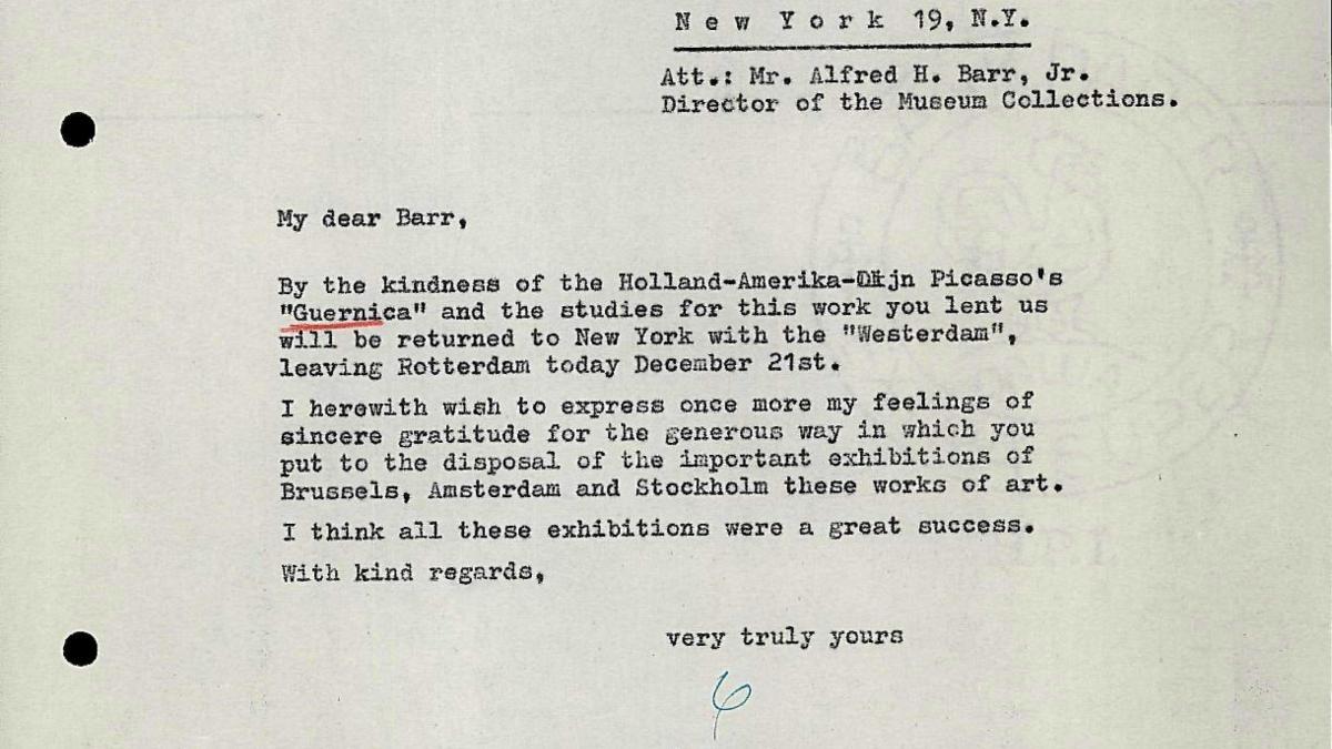 Carta de Willem Sandberg a Alfred H. Barr Jr.