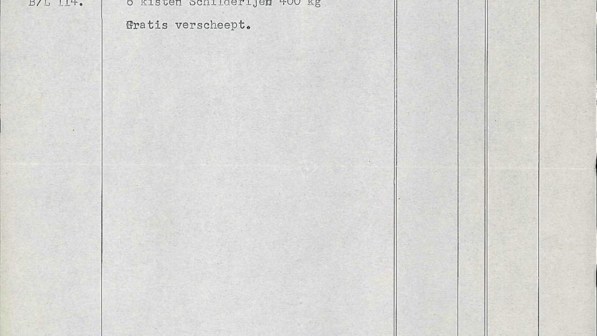 Albarán de envío de 6 cajas con Guernica y los estudios de Ámsterdam a Nueva York