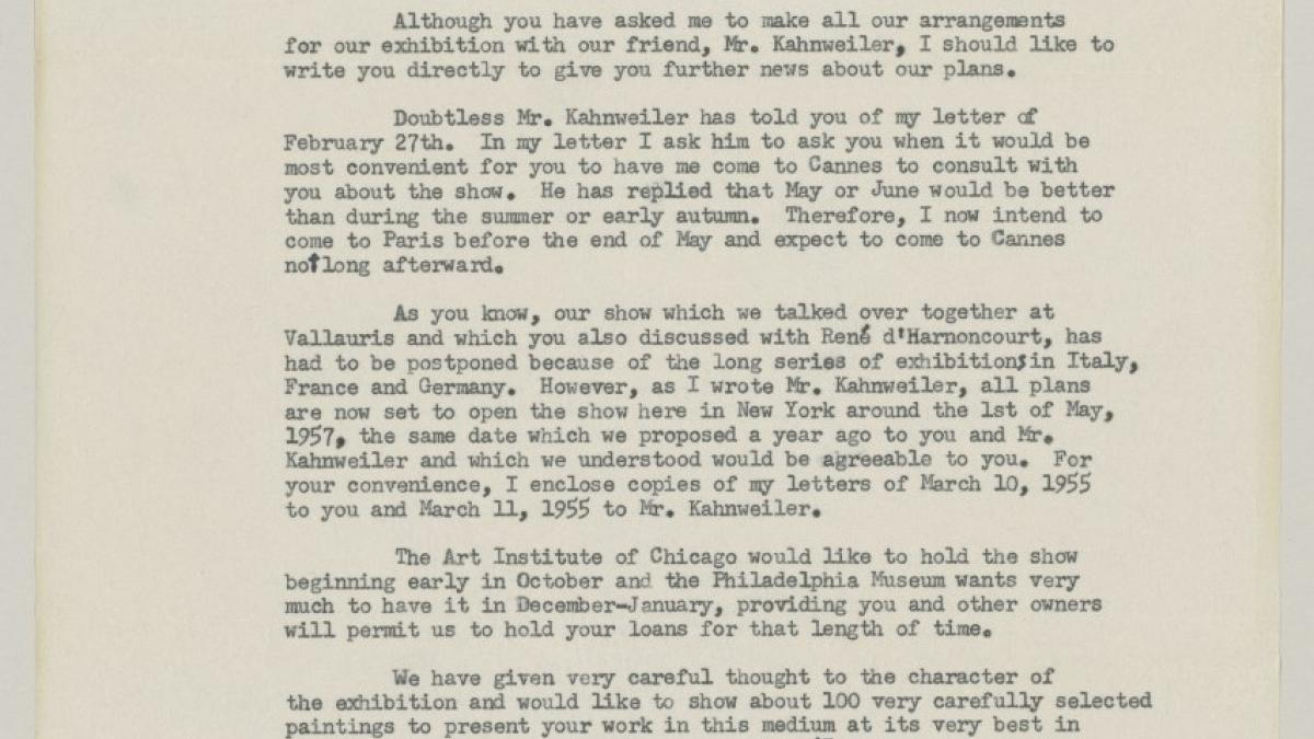 Carta de Alfred H. Barr Jr. a Pablo Picasso del 31 de marzo de 1956