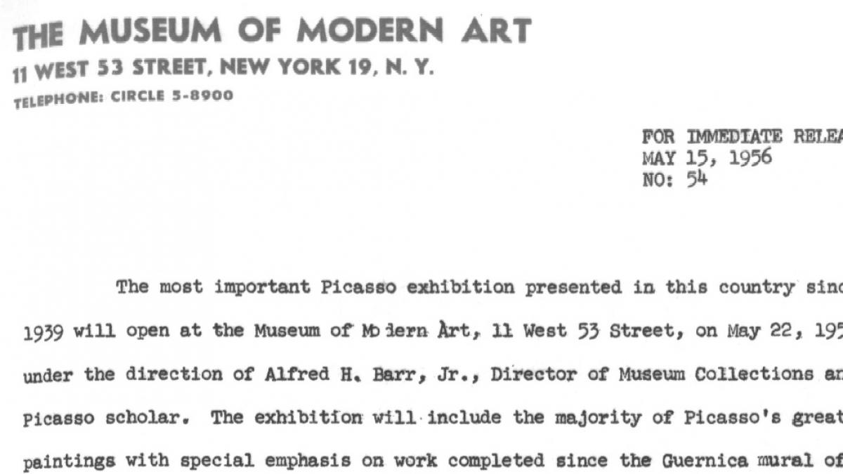 A press release announcing the dates of the exhibition Picasso: 75th Anniversary