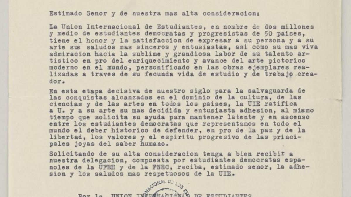 Carta de Le Groupment des Anciens Etudiantes de l'Université et des Écoles Supérieures de Budapest, etudiant de France a Pablo Picasso