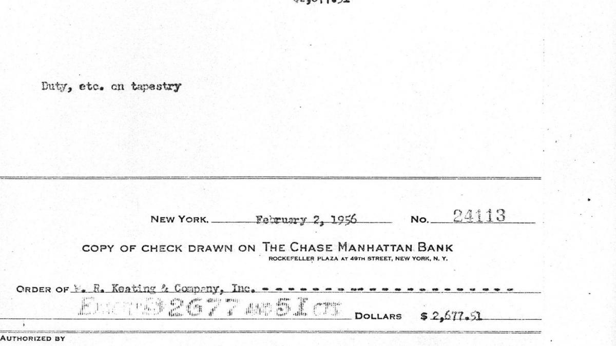 Cheque de Nelson Rockefeller a W. R. Keating & Company por el envío del tapiz