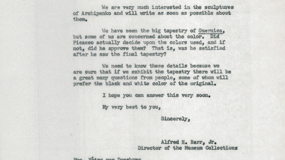 Carta de Alfred H. Barr Jr. a Petro (Nelly) Van Doesburg del 10 de febrero de 1956