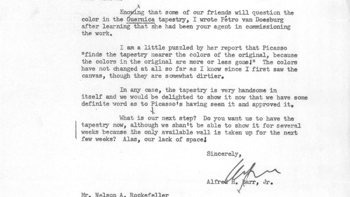 Carta de Alfred H. Barr Jr. a Nelson Rockefeller