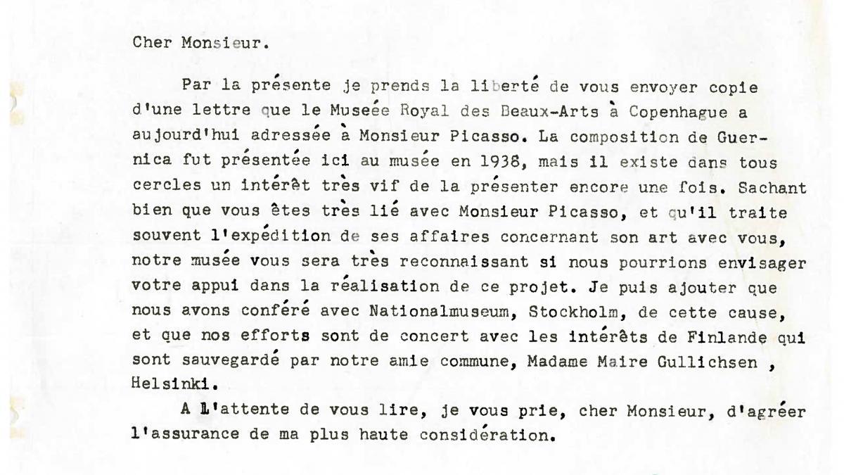 Carta de Lars Rostrup Boyesen a Daniel-Henry Kahnweiler