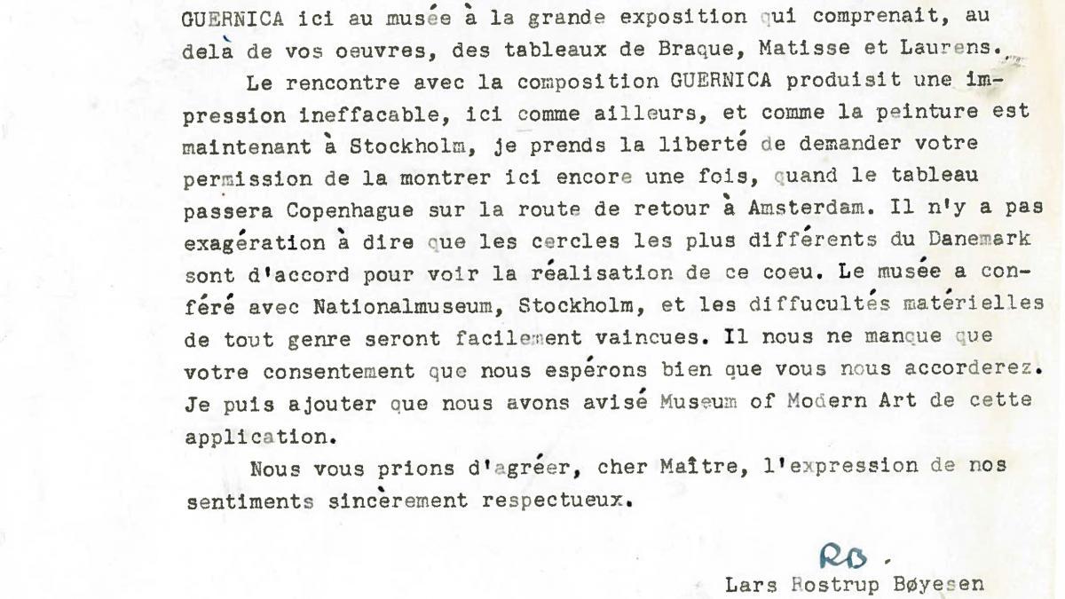 Carta de Lars Rostrup Boyesen a Pablo Picasso
