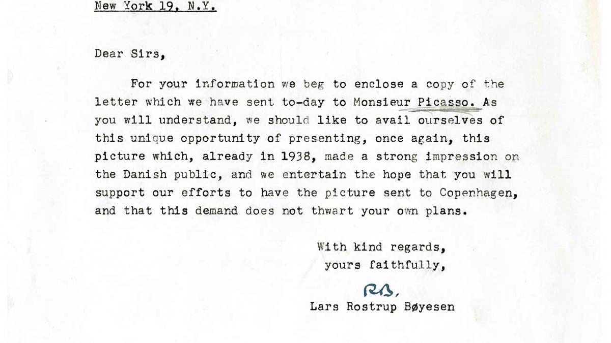 Carta de Lars Rostrup Boyesen al Museum of Modern Art de Nueva York