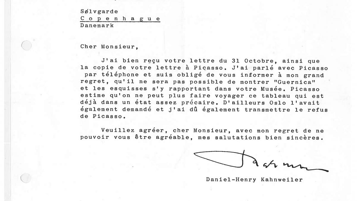 Carta de Daniel-Henry Kahnweiler a Lars Rostrup Boyesen