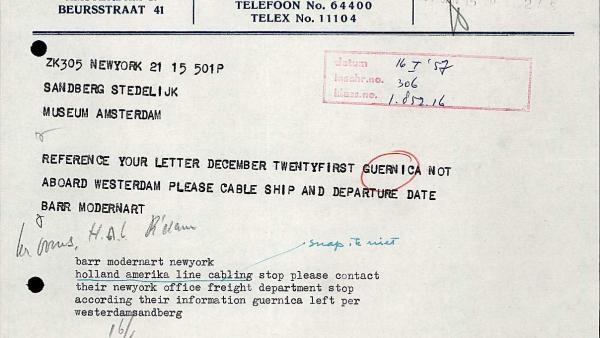 Telegrama de Willem Sandberg a Alfred H. Barr Jr.