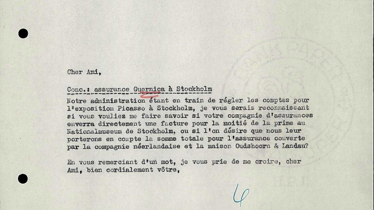 Willem Sandberg's letter to Bo Wennberg, dated 28 January 1957