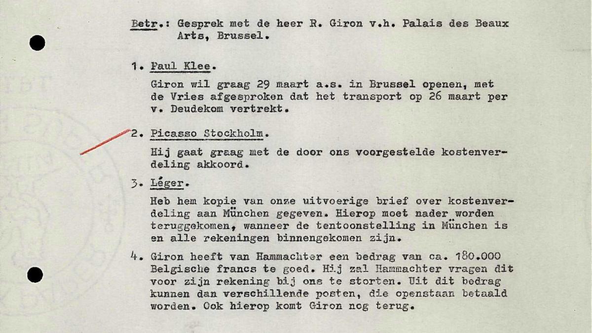 Nota de M. Winter para Willem Sandberg