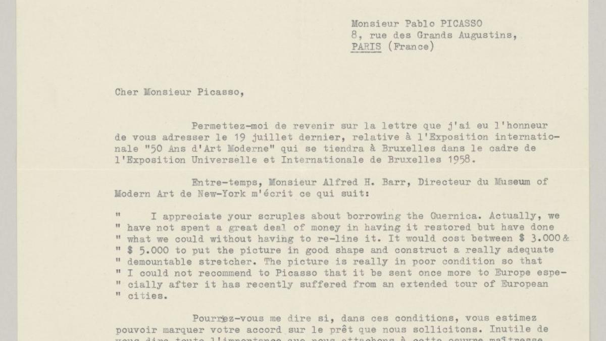 Émile Langui's letter to  Pablo Picasso, dated 6 September 1957