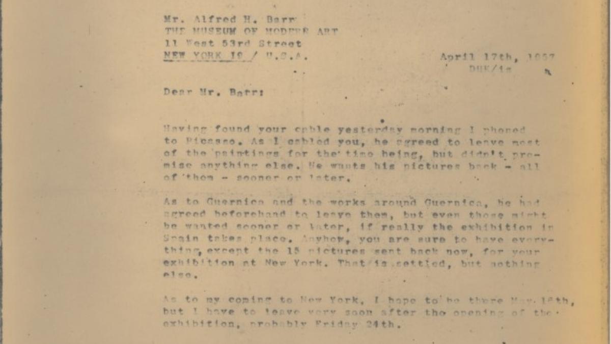 Telegrama de Daniel-Henry Kahnweiler a Alfred H. Barr Jr.