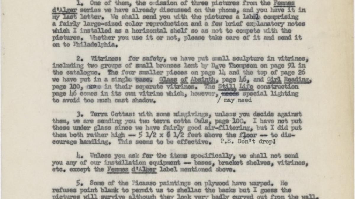 Carta de Alfred H. Barr Jr. a Katherine Kuh