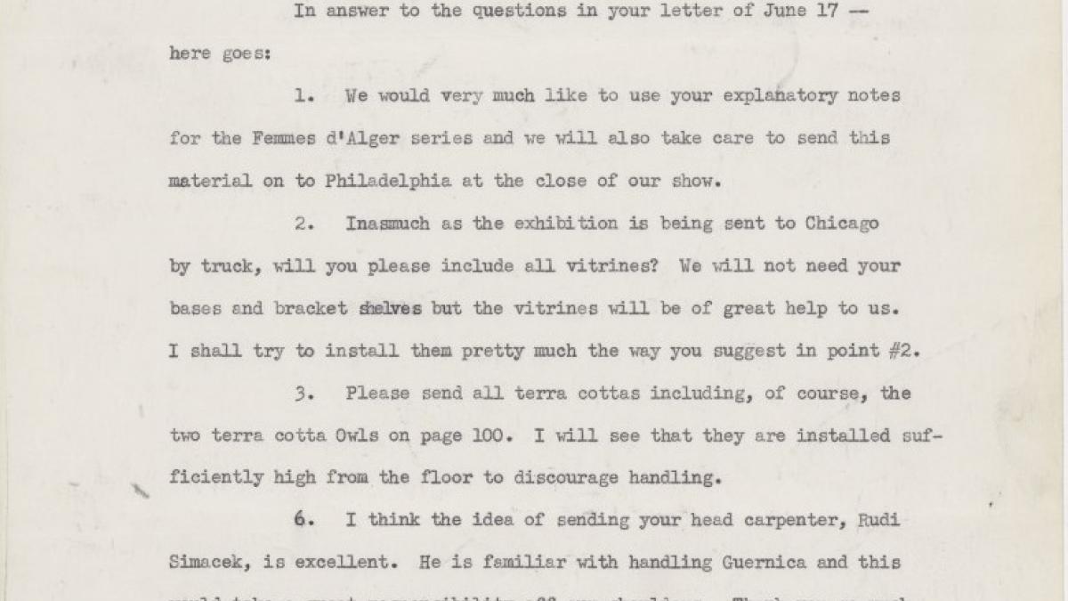 Carta de Katherine Kuh a Alfred H. Barr Jr.