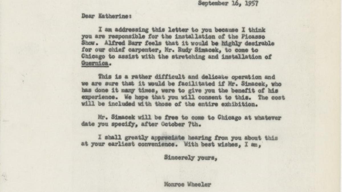 Carta de Monroe Wheeler a Katherine Kuh